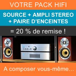 Composez votre Pack stéréo Hifi avec une source, un amplificateur intégré et une paire d'enceintes pour recevoir 20% de remise